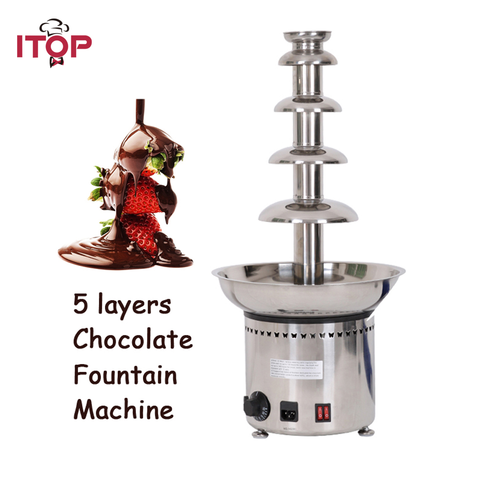 "ITOP 5 Tiers Stainless Party Hotel Commercial 27"" Chocolate Fountain 4kgs Chocolate 110V/220V/240V"