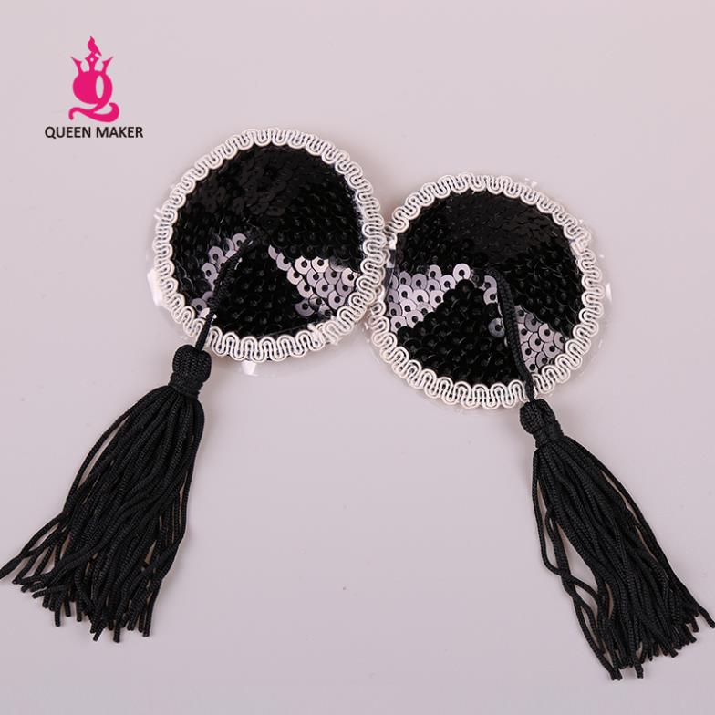 QueenMaker Sexy chest against black sequined white lace black tassel sexy nipple pasties used repeatedly free shipping