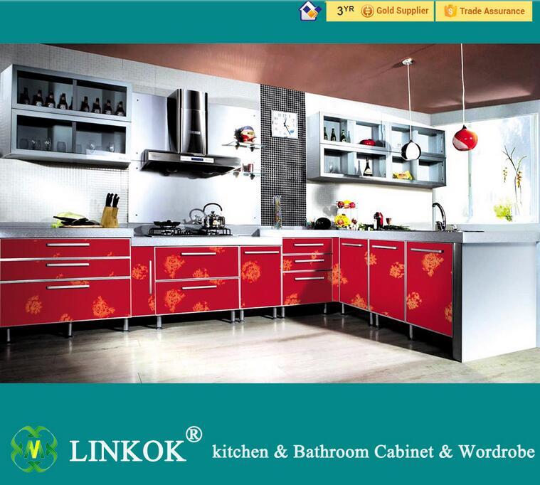 Linkok Muebles de juegos de color rojo pequeño gabinete de la cocina ...