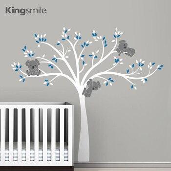 Familia Koala en árbol blanco rama vinilos pegatinas para la pared del cuarto de niños calcomanías arte Mural extraíble bebé niños habitación pegatina decoración del hogar