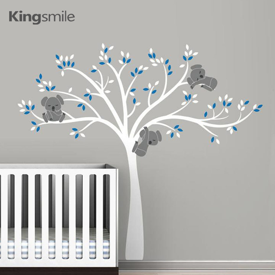 Koala Family on White Tree Branch Vinyler Vægmalerier Nursery Decals Art Removable Wallet Baby Børn Room Sticker Home Decor