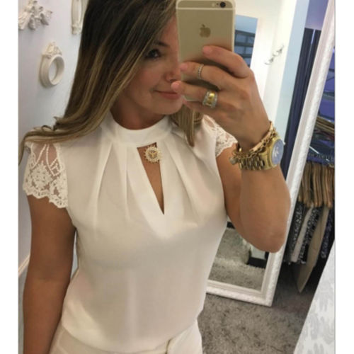 Womens Short Sleeve Loose   Blouse   Casual   Shirt   Summer Lace Patchwork Chiffon Tops   Shirt