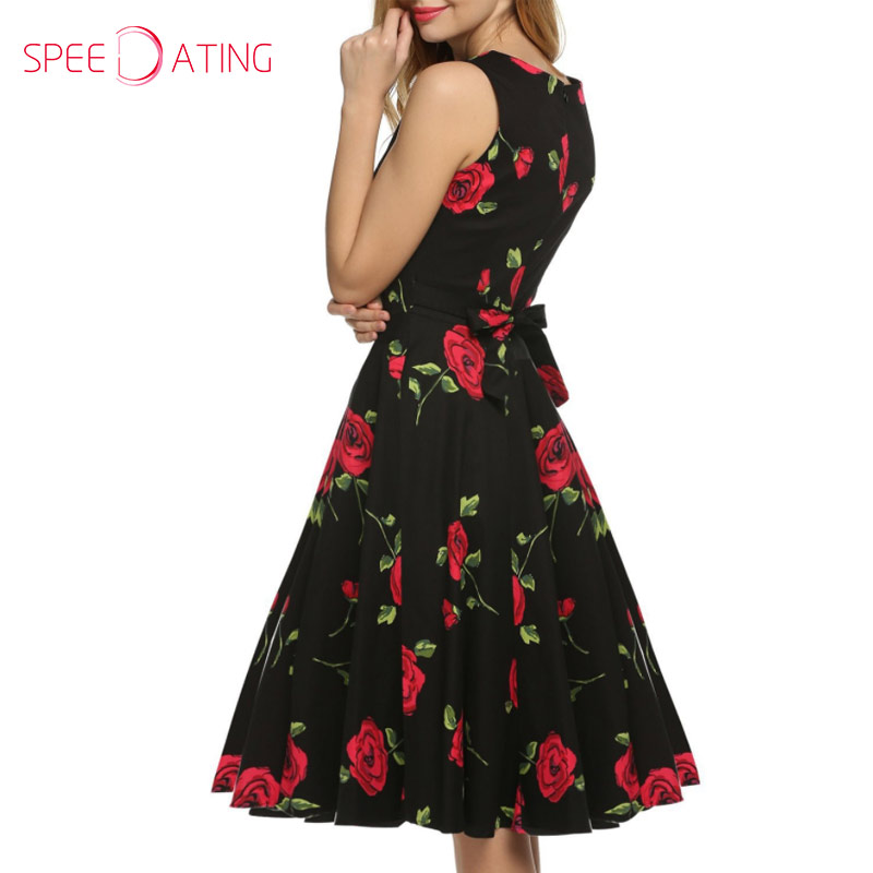 7535121adc New Come Round Neck Bowknot Floral Printed Vintage Skater Dresses Knee  Length Sleeveless Formal Flared Dress Summer SPEEDATING-in Dresses from  Women s ...