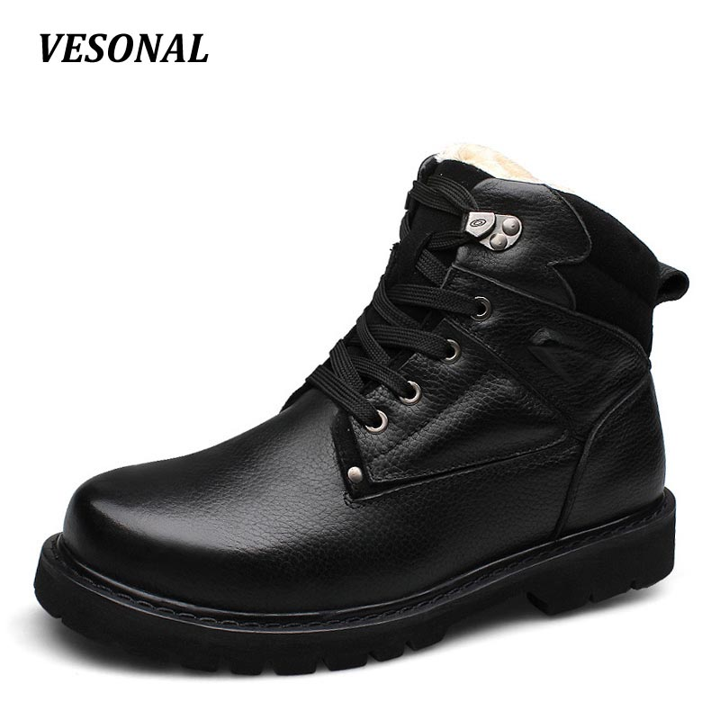 VESONAL 100% Genuine Leather Winter Warm Faux Fur Velvet Snow Boots Men Shoes Cow Military Motocycle Ankle Boot Male SD003 2016 hot sale male snow boots genuine leather ankle suede snow boots winter shoes for men and women mens boot shoe 35 48