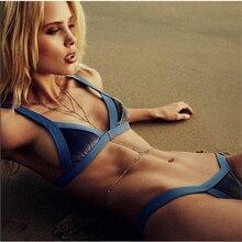 2017 new blue velvet swimsuit lady bikini sexy bandage Brazilian bikini suit sexy low waist swimsuit free shipping