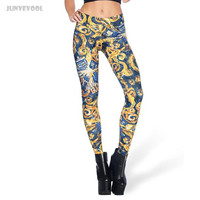 Leggings Mulheres Sexy Women Skinny Pant One-piece Seamless Stretch Oil Painting Capris Slim High Waist Trousers Legging Pant