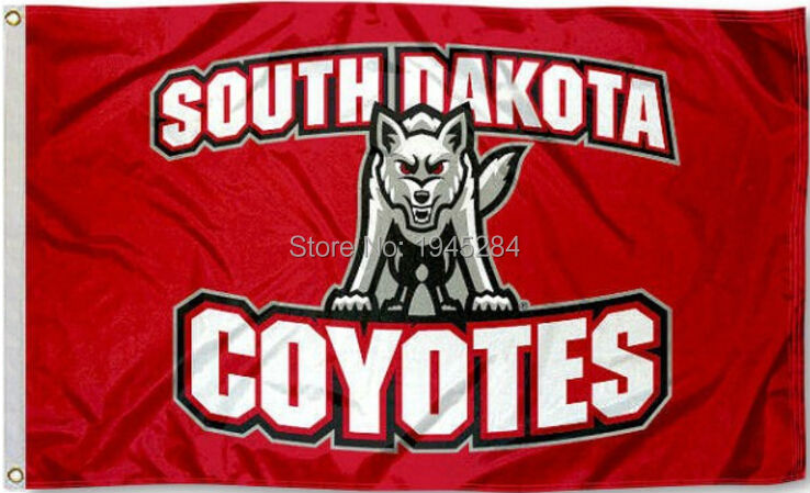 South Dakota Coyotes Flag Banner 002 New 3x5FT 90x150CM Polyester NCAA 8928, free shipping