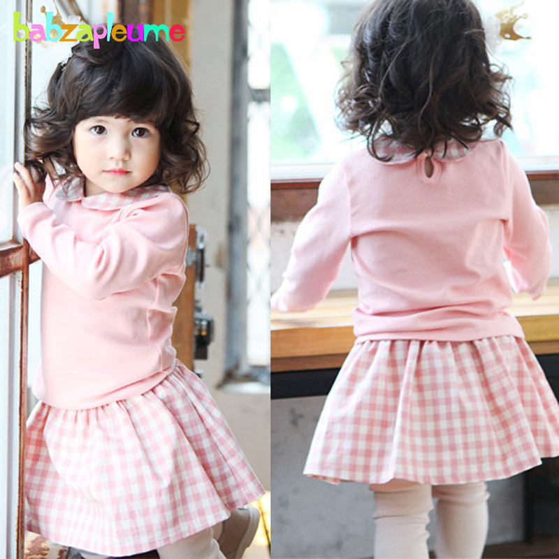 babzapleume Spring Autumn Korean Kids Clothes T-Shirt+Pants Baby Girls Boutique outfits Children Clothing Sets Two Piece BC1157 2017 spring longsleeve cotton t shirts for girls clothing tops baby kids clothes lace bowknot korean style children girls tees