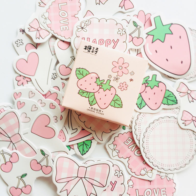 1 Box Of 45 Sheets Summer Style Sweet Strawberry Diary Album Decoration DIY Stickers Stick Label