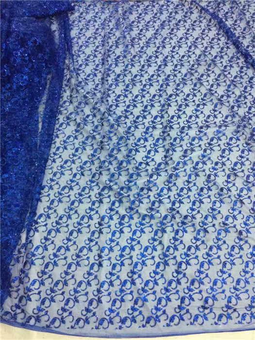Nowa moda niebieski royal francuski koronki tkaniny netto ładny tiul tkaniny do szycia sukienka z brokatem UN102 (5 m/dużo)