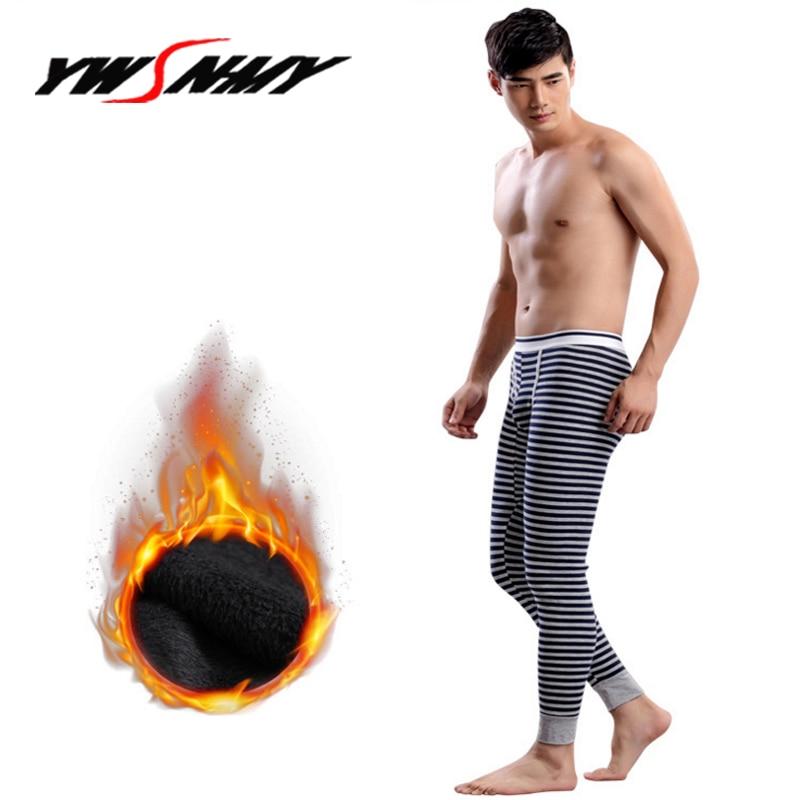 HOT SALE Winter Warm Men Long Johns Cotton Stripes Thermal Underwear Mens Thermo Thick Plus Velvet Homme Pants