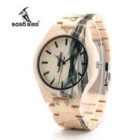 2017 Watch Men BOBO BIRD Wooden Watches Vintage Painting Male Wristwatch Wooden Strap Relogio Masculino B