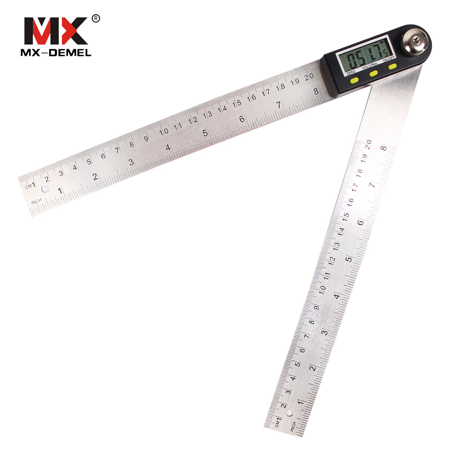 MX-DEMEL 200mm Digital Protractor Inclinometer Goniometer Level Measuring Tool Electronic Angle Gauge Stainless Steel Ruler 2 in 1 200mm 300mm stainless steel digital angle ruler protractor level measuring tool electronic metal digital straight rulers