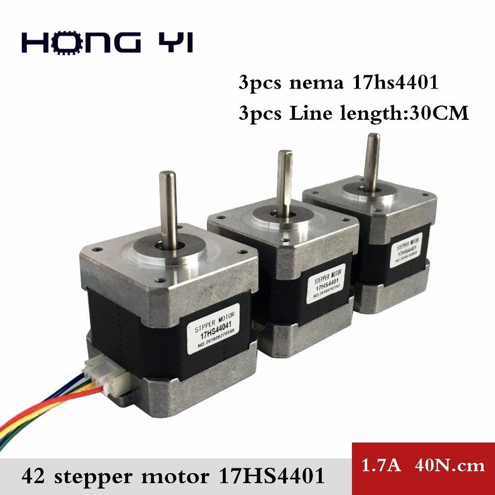 Il trasporto libero 3 PZ 17HS4401-lead Nema17 Stepper Motor 42 motore 3D stampante 1.7A CE ROSH ISO CNC Laser Grind Foam Plasma Cut