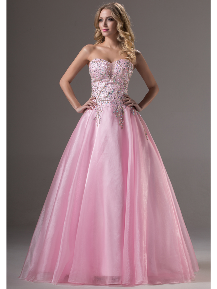 Sparkle Long Formal Pink Sweetheart Beading Crystals Ball Gown ...