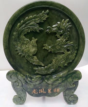 Chinese natural jade carved dragon and phoenix decoration household act the role ofing is tasted free shipping