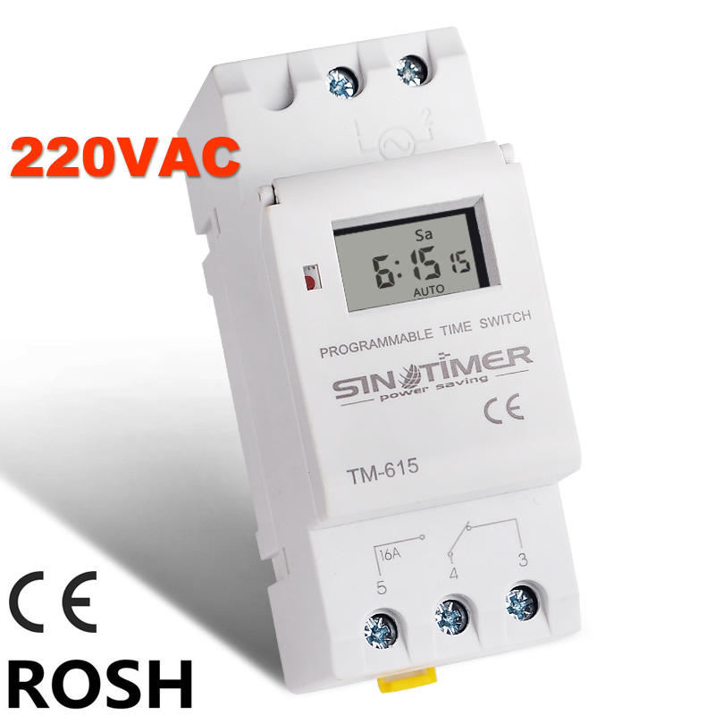 SINOTIMER Brand Electronic Weekly 7 Days Programmable Digital TIME SWITCH Relay Timer Control AC 220V 16A Din Rail Mount