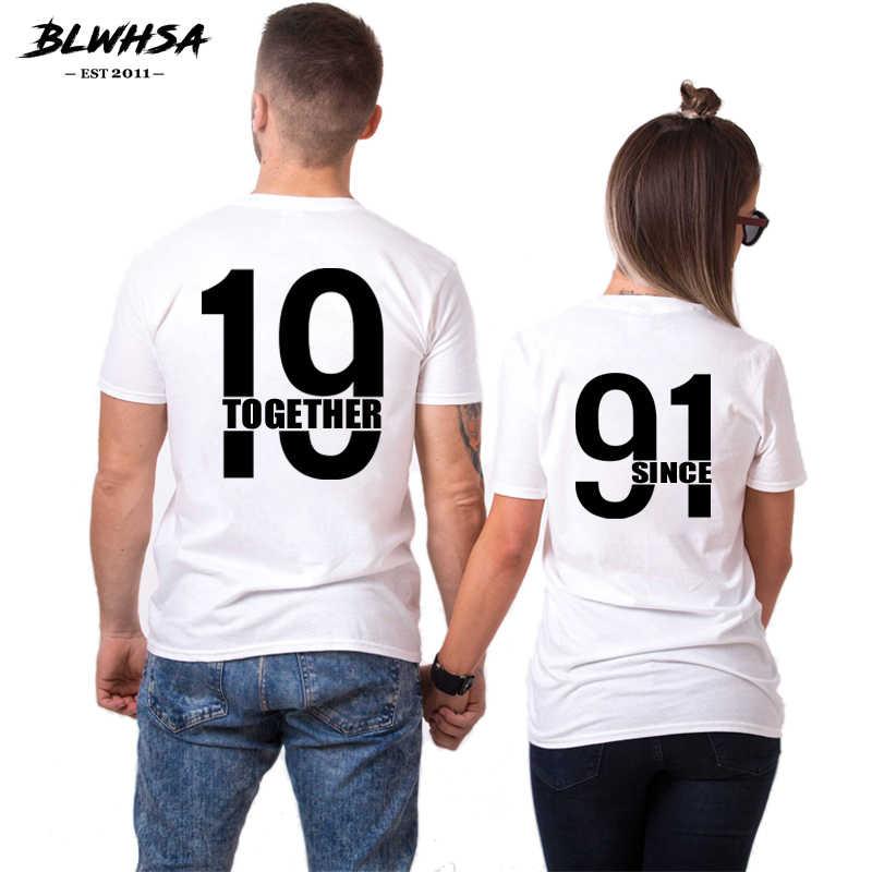 BLWHSA Sinds 1991 Samen Lover Mannen T-shirt Vrouwen Zomer Hip Hop T-Shirt Mode Sinds Samen Brief Gedrukt Paar Voor minnaar