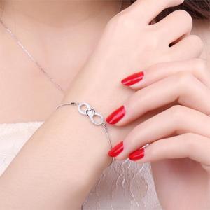 Image 3 - JewelryPalace Infinity Cuore 0.1ct Cubic Zirconia Regolabile Bracciale In Argento Sterling 925 Catena Regolabile Donne Braccialetti con ciondoli