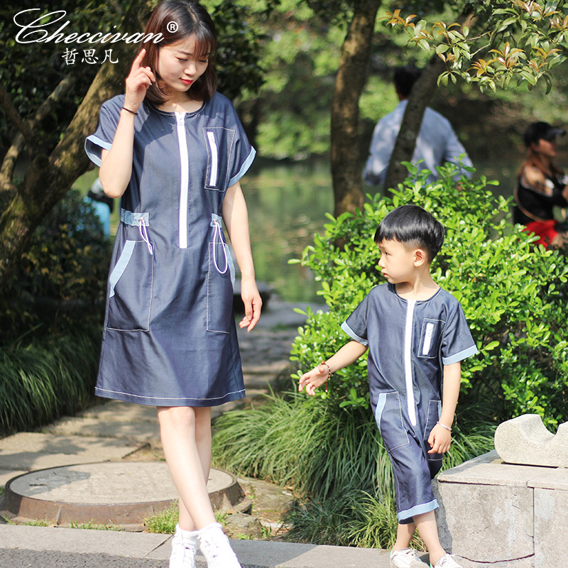 Top Brand Family Fashion Summer Clothes Mother Short-sleeve Dress Toddler Faux Denim Sets Boys Tencel Jumpsuit Girl 2pieces Sets