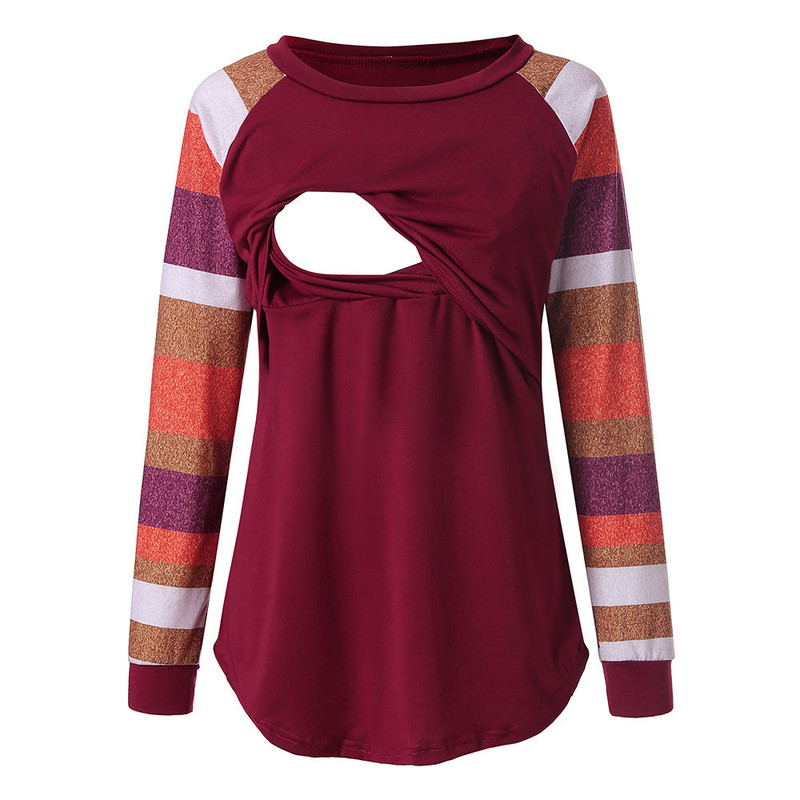 Teenster  Maternity Shirt Breast Feeding Clothes Nursing Tops Pregnancy T Shirt Long Sleeve Pregnant Clothes Designer Xxl Women