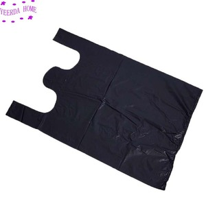 Image 3 - 250Pcs/Pack Black Bags Shopping Bag Supermarket Plastic Bag With Handle Food Packaging Bags for Kitchen Dropshipping