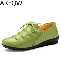 AREQW Four Seasons New Leather Straps Soft Soled Shoes Women S Singles Young Women S Students