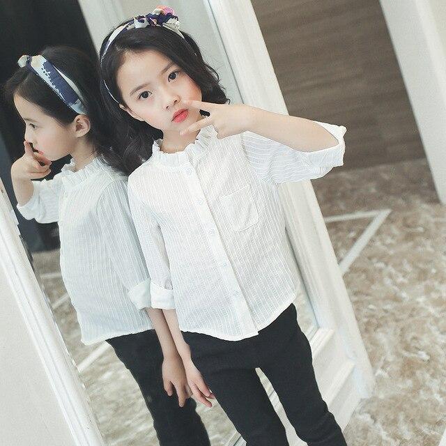 0e421f541 € 15.78  Uniformes escolares para niños blusa blanca para las niñas blusas  de algodón de manga tres cuartos de rayas camisas de las muchachas ...