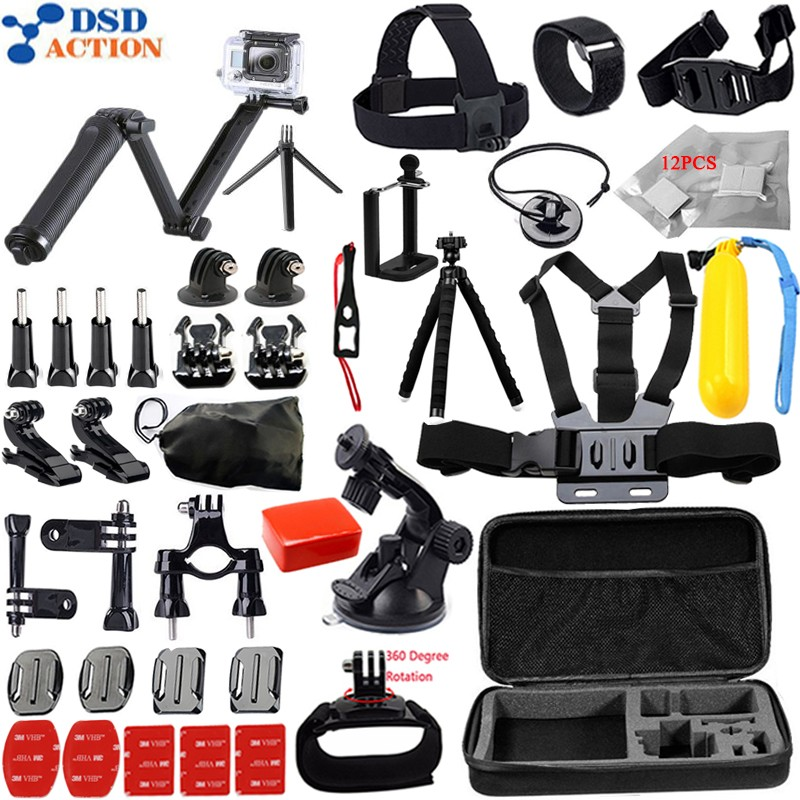 Husiway Accessories for Gopro kit mount / go pro hero 5 4 3 2 accessories set for M10 SJCAM Eken h8r case xiaomi yi tripod 13G gopro accessories head belt strap mount adjustable elastic for gopro hero 4 3 2 1 sjcam xiaomi yi camera vp202 free shipping