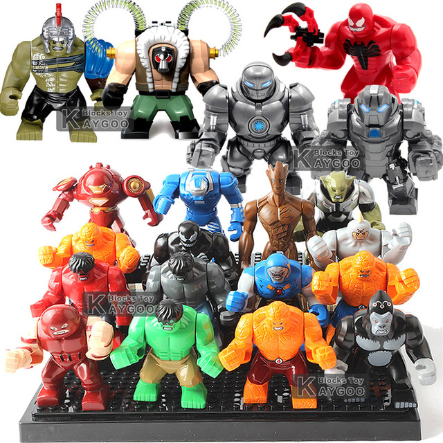 Grande Grande Super hero Endgame 4 Vingadores Marvel Super hero es Hulk Buster Veneno De Ferro Máquina de Guerra Homem Pantera Negra crianças Brinquedos Tijolo