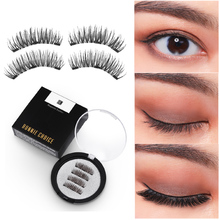 BONNIE CHOICE Magnetic Eyelashes with 3 Magnet Handmade 3D Natural False Lashes 4Pcs/2Pcs Eye Makeup Kit