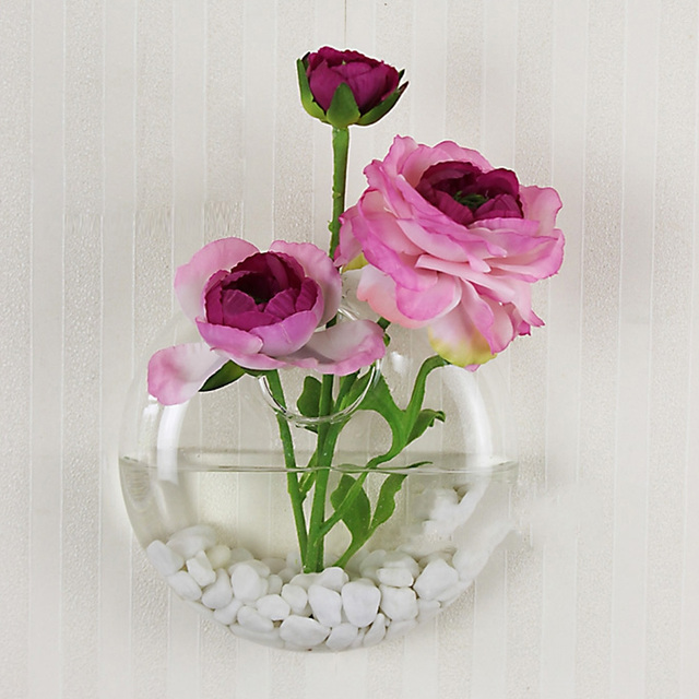 New Hot Selling Wall Mounted Crystal Glass Vase Flower Plant