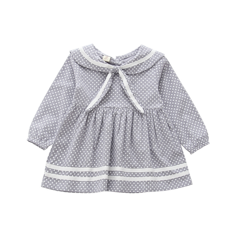Cute Polka Dot Printed Baby Girls Dresses Autumn Long Sleeve sailor collar Bowknot Princess Dress Casual Costume Kids Clothes