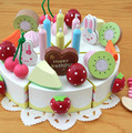 New wooden toy Birthday Fruit Cake Mother Garden Kitchen toy food toy Baby toy Free Shipping