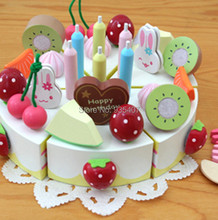 New wooden toy Birthday Fruit Cake Mother Garden Kitchen food Baby Free Shipping