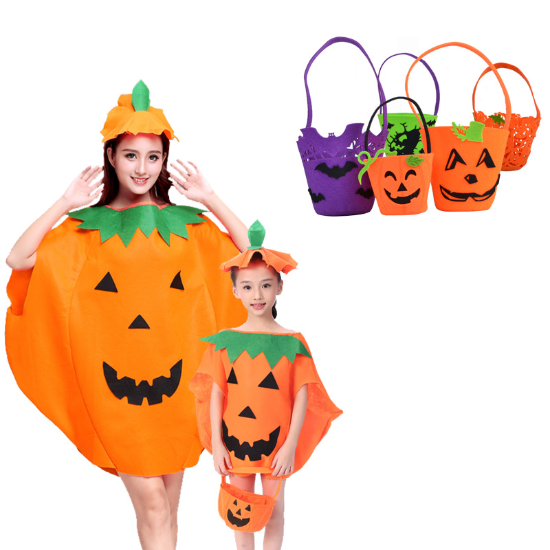 2018 New Halloween Party Pumpkin Costume with Hat Candybag Smile Ghost Pumpkin Witch Skeleton Candy Bag for Children Adult
