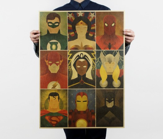 American Super Hero Vintage Classic Poster Home Decoration School Office Retro Posters And Prints Decorativos