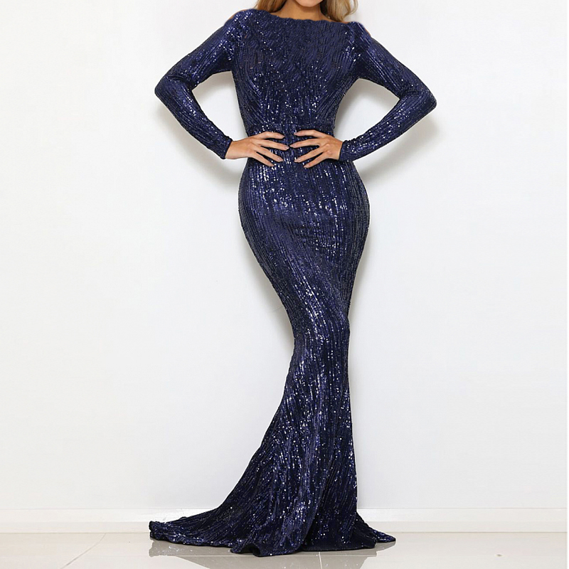 2019 NEW Navy Blue Long Sleeve Stretchy Sequined Maxi Dress Floor Length O Neck Full Lining