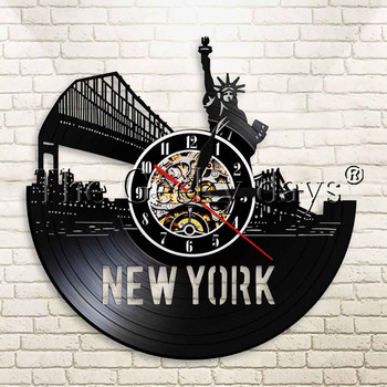 1Piece New York City Statue Of Liberty Vinyl Record Wall Clock Cityscape Home Living Room Decorative Wall Clock For Tourism Gift