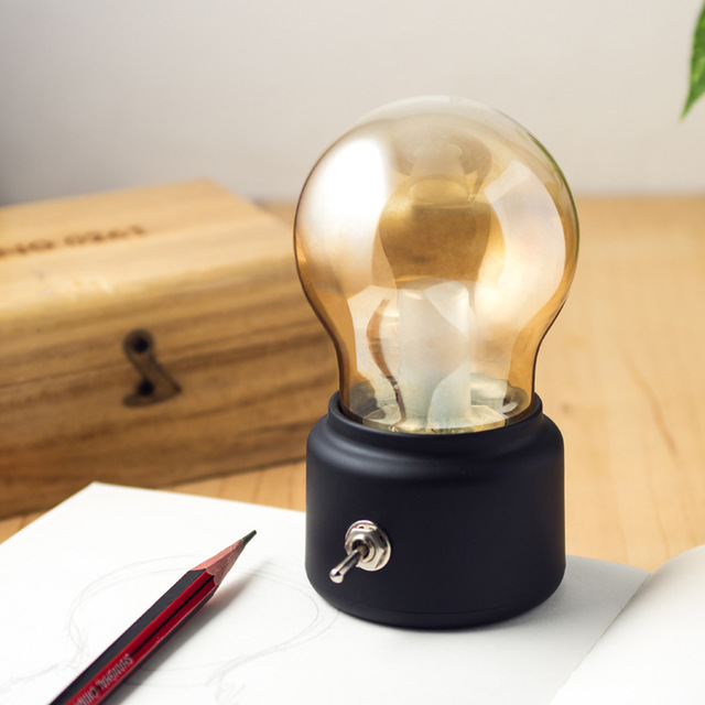 Creative USB Mini Retro Bulb LED Lamp,Retro Metal Lever Switch Bulb Atmosphere Lamp Rechargeable Vintage Art Desk USB NightLight