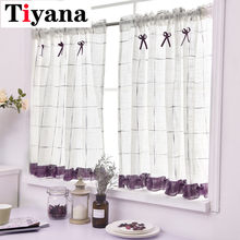 Living room drapery Rustic Window Screen Half Curtain Kitchen Gauze Cabinet Dust Curtain Balcony Toilet Small Curtains DL013D4(China)
