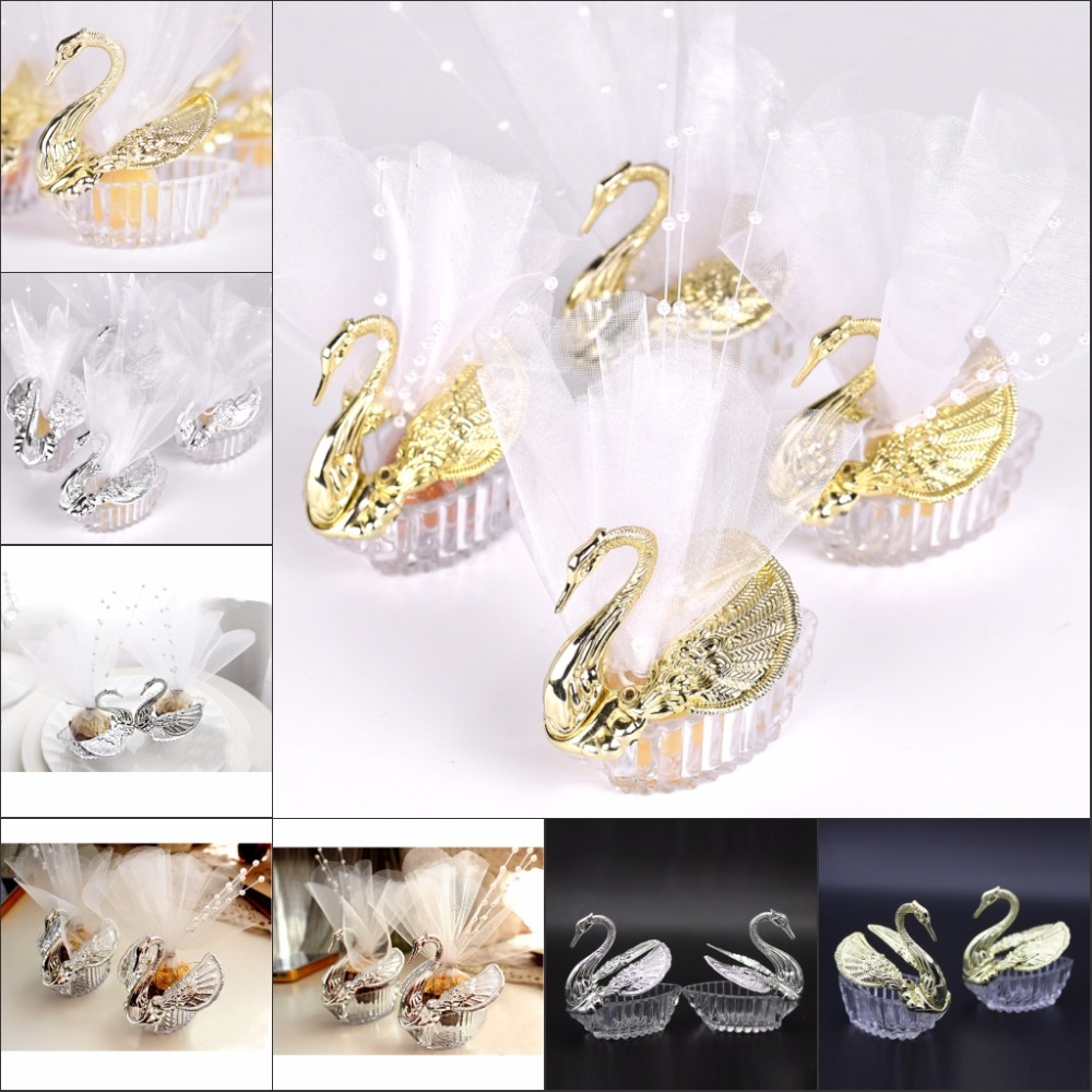 Swan Wedding Gift Return: 50 Pieces Acrylic Wedding Favor Swan Boxes Bomboniere