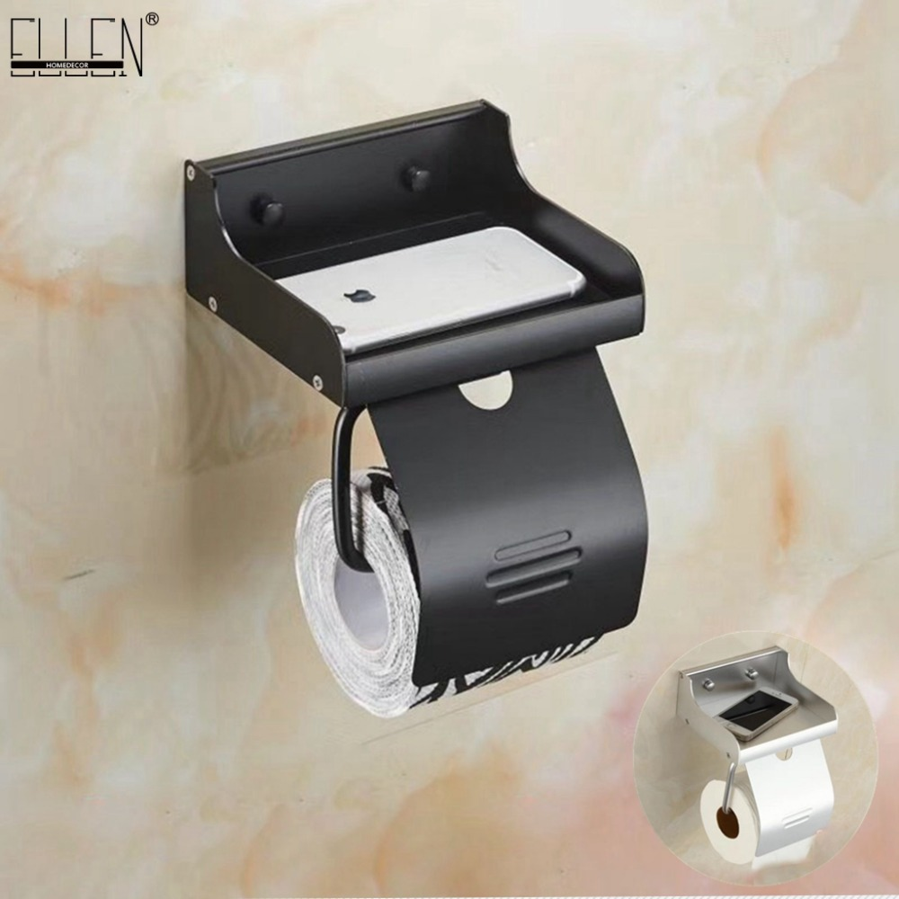Bathroom Toilet Paper Holder Toilet Roll Paper Rack With Phone Shelf Wall Mounted Aluminum Black/Sliver EL7566