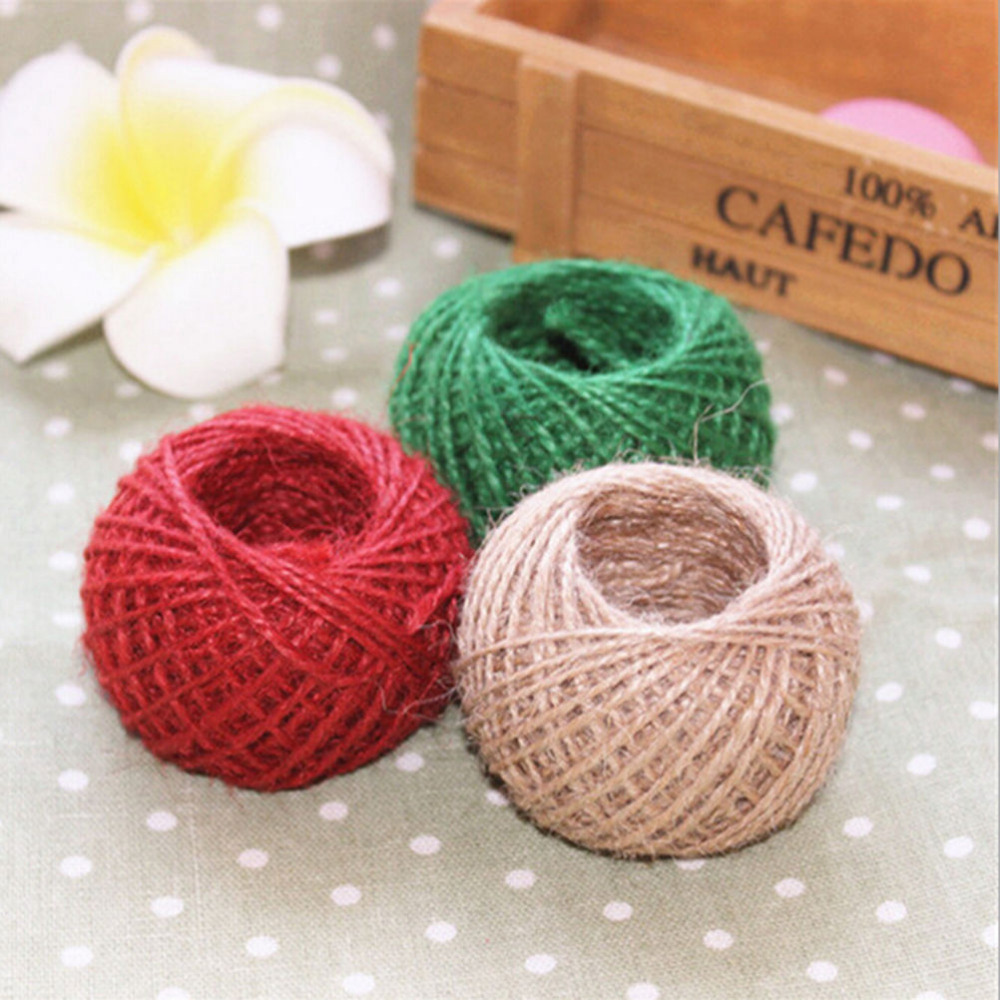 1 Roll 30m burlap Rope Natural Jute Twine Burlap String Hemp Rope Wedding Gift Wrapping Cords Thread Wedding Party Supplies