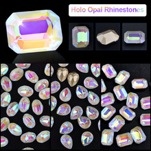 10 Pcs Opal Aurora Nail Glitter Rhinestones AB Colorful Sharp End Crystal 3d Charm Gem Jewelry Manicure Decorations For Nail Art цены