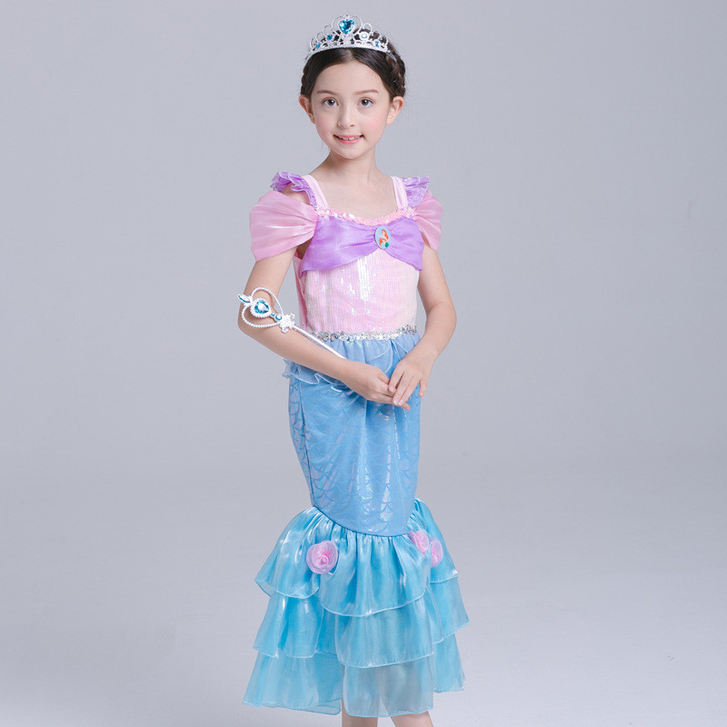 New Baby Girl Little Mermaid Dress Cloth Halloween Fancy Kids Girls Dresses Princess Cosplay Costume Mermaid Tail Show Vestido european style halloween show skeleton dress kids girls carnival fancy costume baby tutu party children cosplay vestido cloth