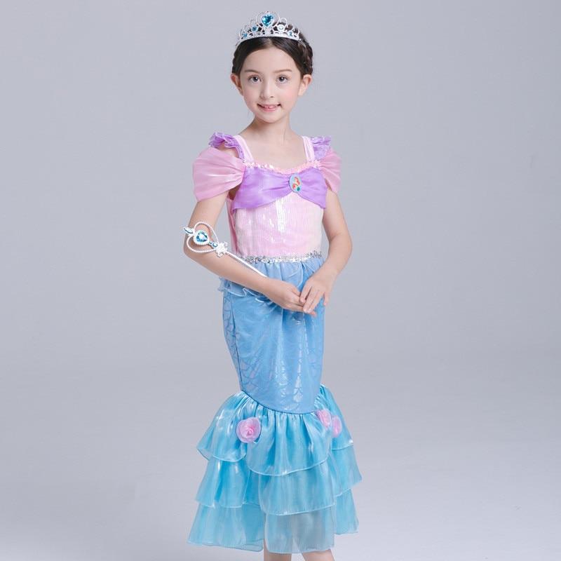 New Baby Girl Little Mermaid Dress Cloth Halloween Fancy Kids Girls Dresses Princess Cosplay Costume Mermaid Tail Show Vestido вечернее платье mermaid dress vestido noiva 2015 w006 elie saab evening dress