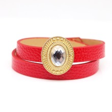 D&D Multilayer Women Leather Bracelets Personality Exaggerated Fashion Crystal Wrap Bracelet Wide Jewelry