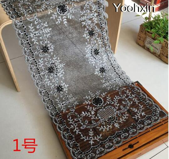 Modern black lace sequin table runner cloth cover flag embroidery