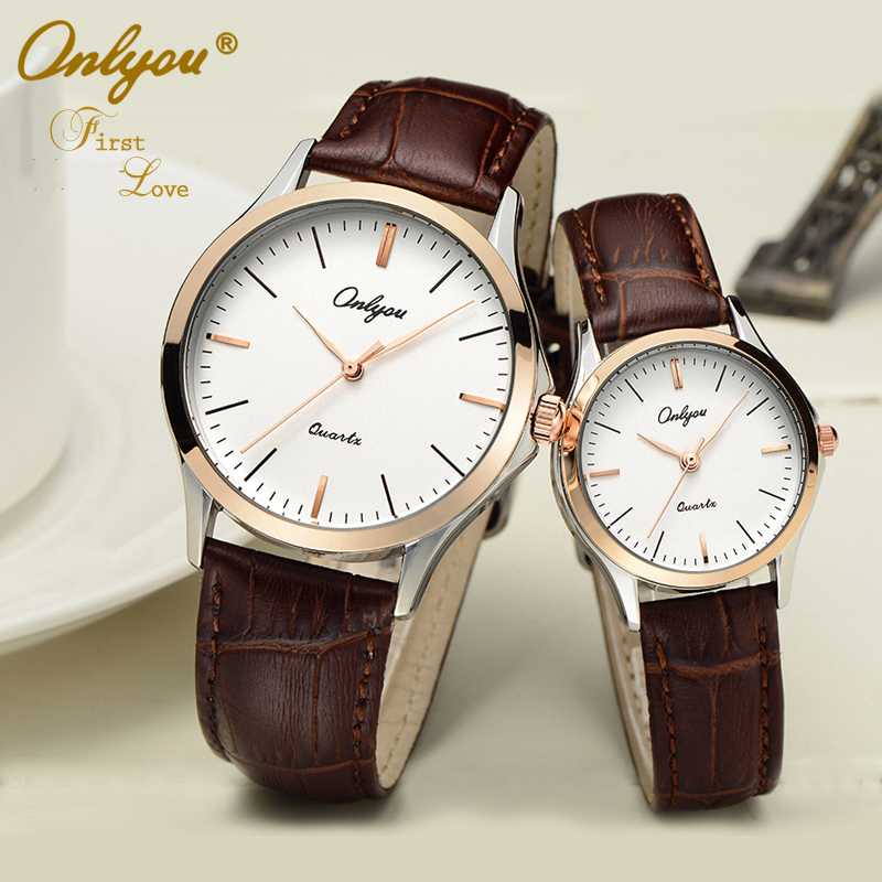 Onlyou Luxury Brand Fashion Casual Lovers Watches Women Men Leather Watchband Boys Girls Quartz Watch Water Resistant Clock 8838 onlyou new fashion black men wristwatches leather watchband lovers watch luxury brand simple quartz watches women clock montre
